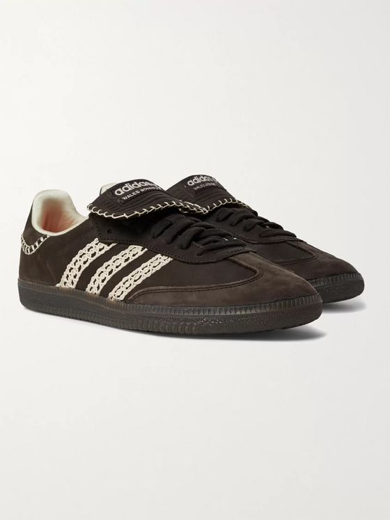 adidas Consortium + Wales Bonner Samba Crochet- and Leather-Trimmed Suede Sneakers