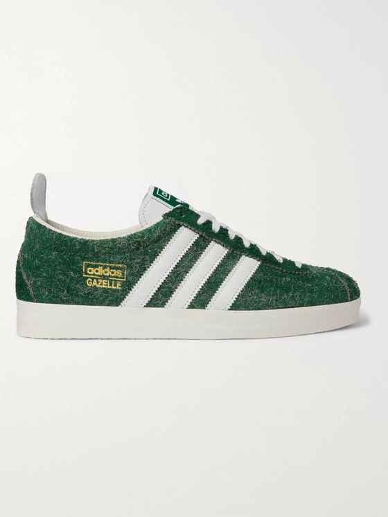 ADIDAS ORIGINALS Gazelle Vintage Leather-Trimmed Textured-Suede Sneakers