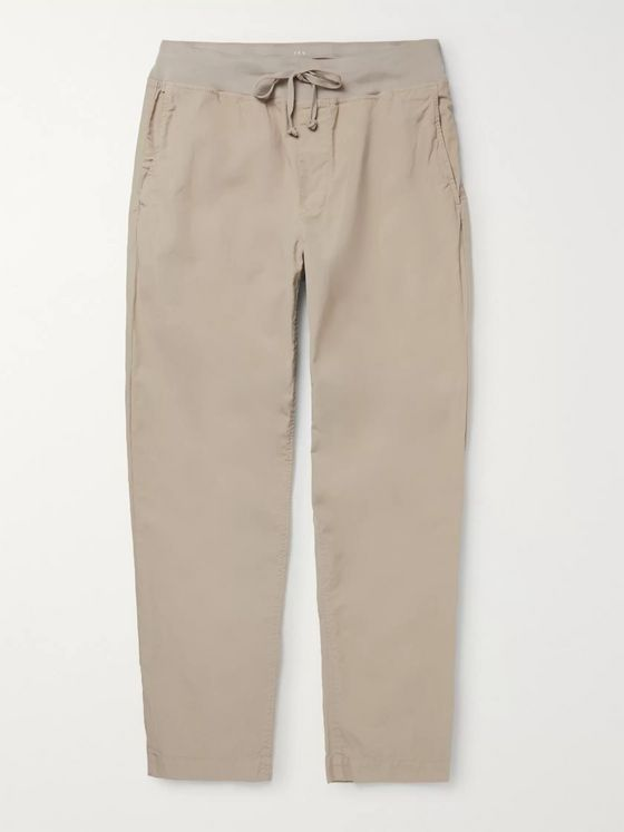 Save Khaki United Cozy Slim-Fit Garment-Dyed Cotton-Poplin Drawstring Trousers