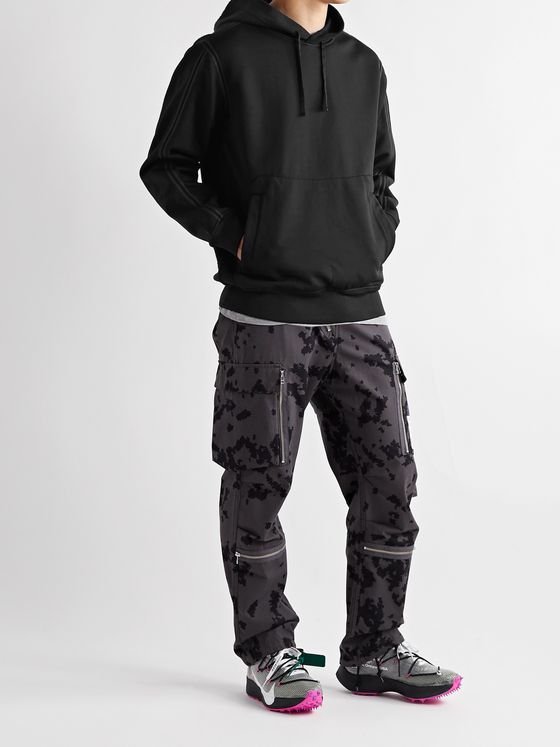 Stone Island Shadow Project Shaggy Pile Shell-Trimmed Panelled Fleece and Tech-Jersey Hoodie