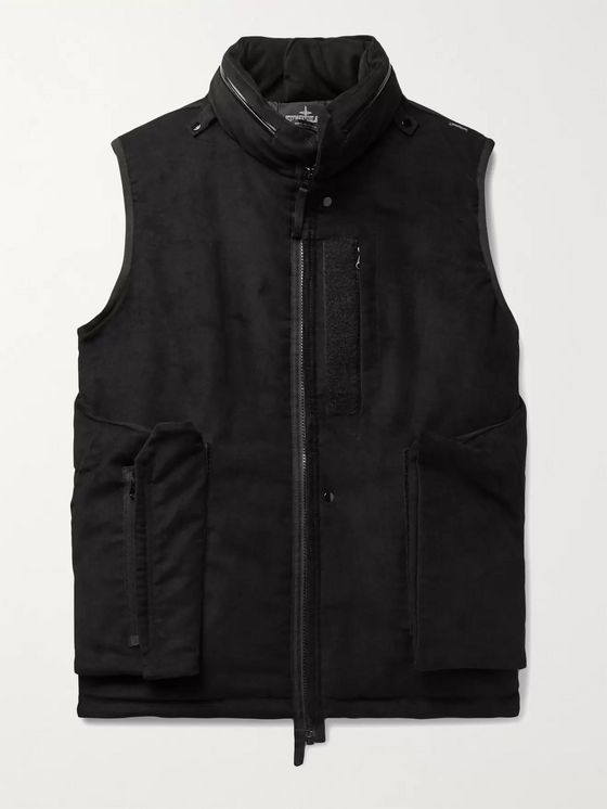 Stone Island Shadow Project Grosgrain-Trimmed Cotton-Blend Moleskin Hooded Gilet
