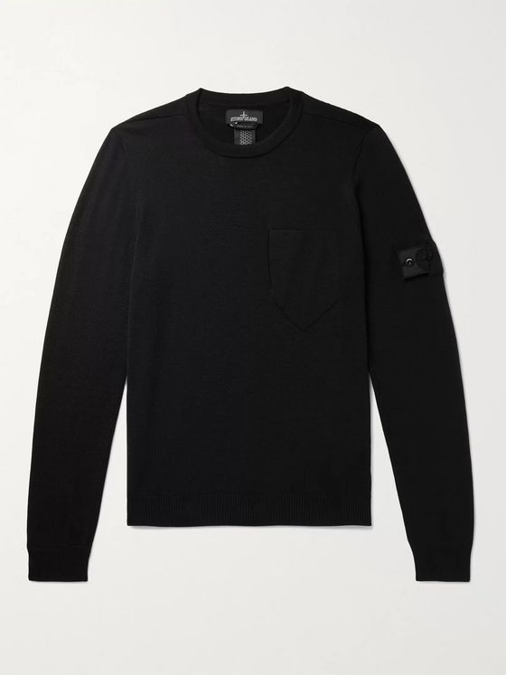 Stone Island Shadow Project Logo-Appliquéd Wool and Silk-Blend Sweater