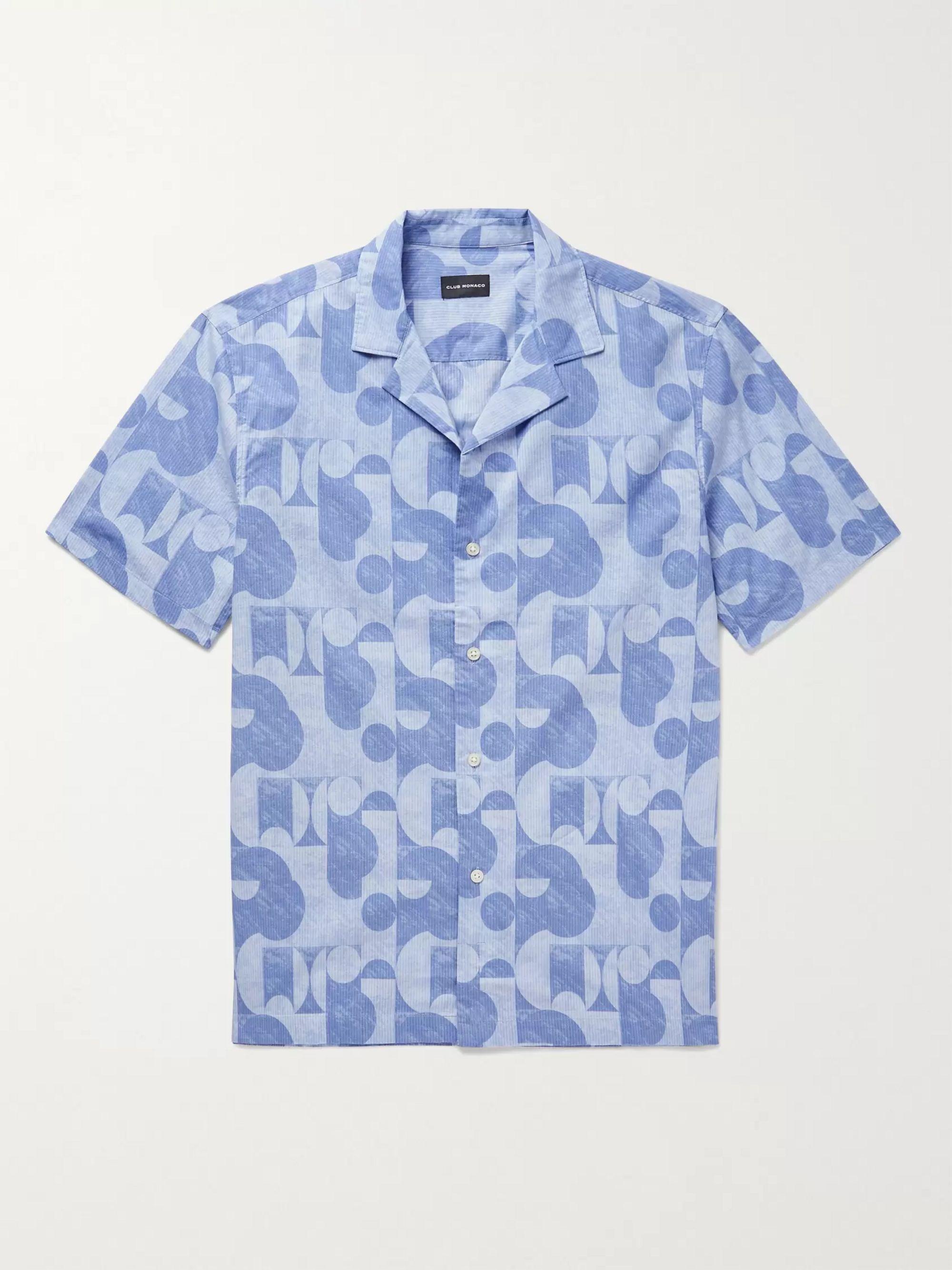 CLUB MONACO Camp-Collar Printed Cotton Shirt