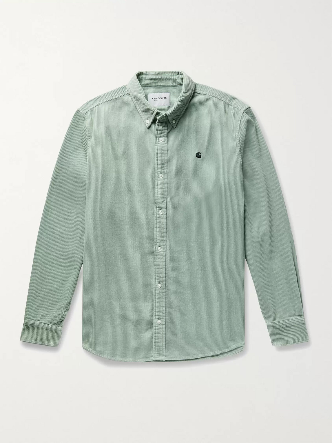 Carhartt Madison Button-down Collar Logo-embroidered Cotton-corduroy Shirt In Frosted Green / Black