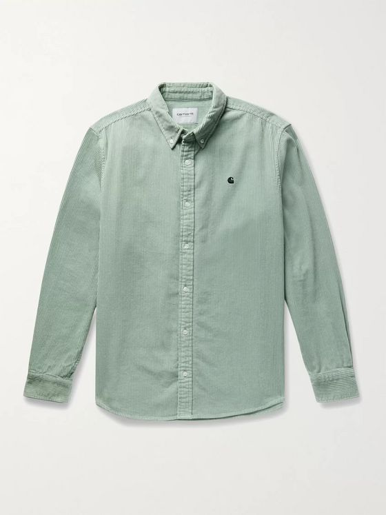 Carhartt WIP Madison Button-Down Collar Logo-Embroidered Cotton-Corduroy Shirt
