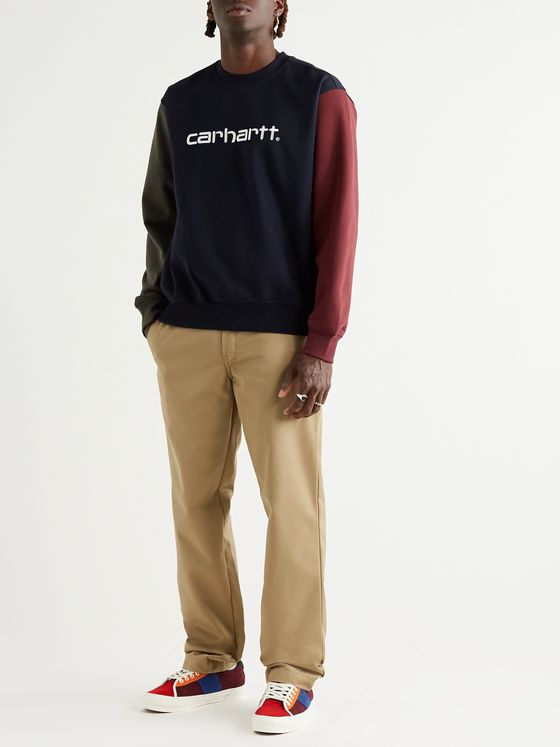 Carhartt WIP Logo-Embroidered Colour-Block Fleece-Back Cotton-Blend Jersey Sweatshirt