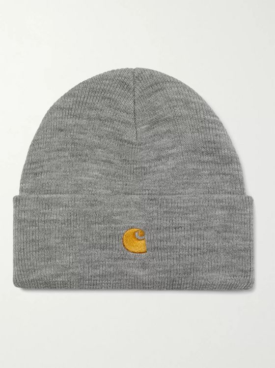 Carhartt WIP Chase Logo-Embroidered Mélange Ribbed-Knit Beanie