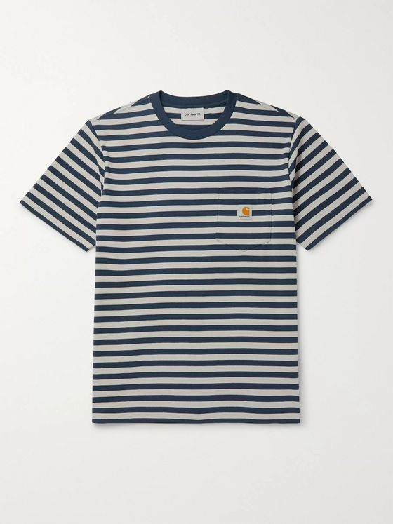 Carhartt WIP Logo-Appliquéd Striped Cotton-Jersey T-Shirt