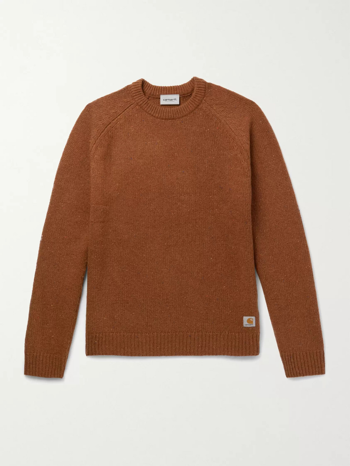 Carhartt Anglistic Mélange Wool-blend Sweater In Brown