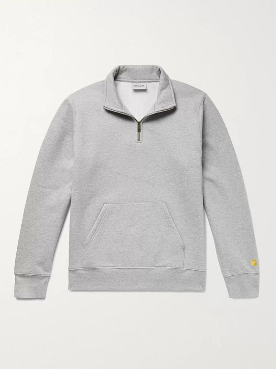 CARHARTT WIP Chase Mélange Fleece-Back Cotton-Blend Jersey Half-Zip Sweatshirt
