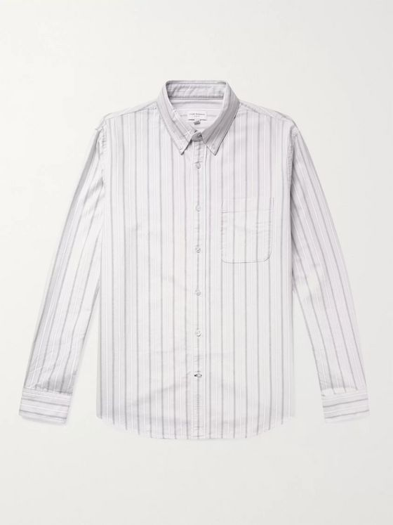 CLUB MONACO Button-Down Collar Striped Cotton Oxford Shirt