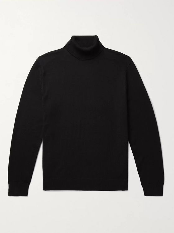 Club Monaco Piped Wool Rollneck Sweater