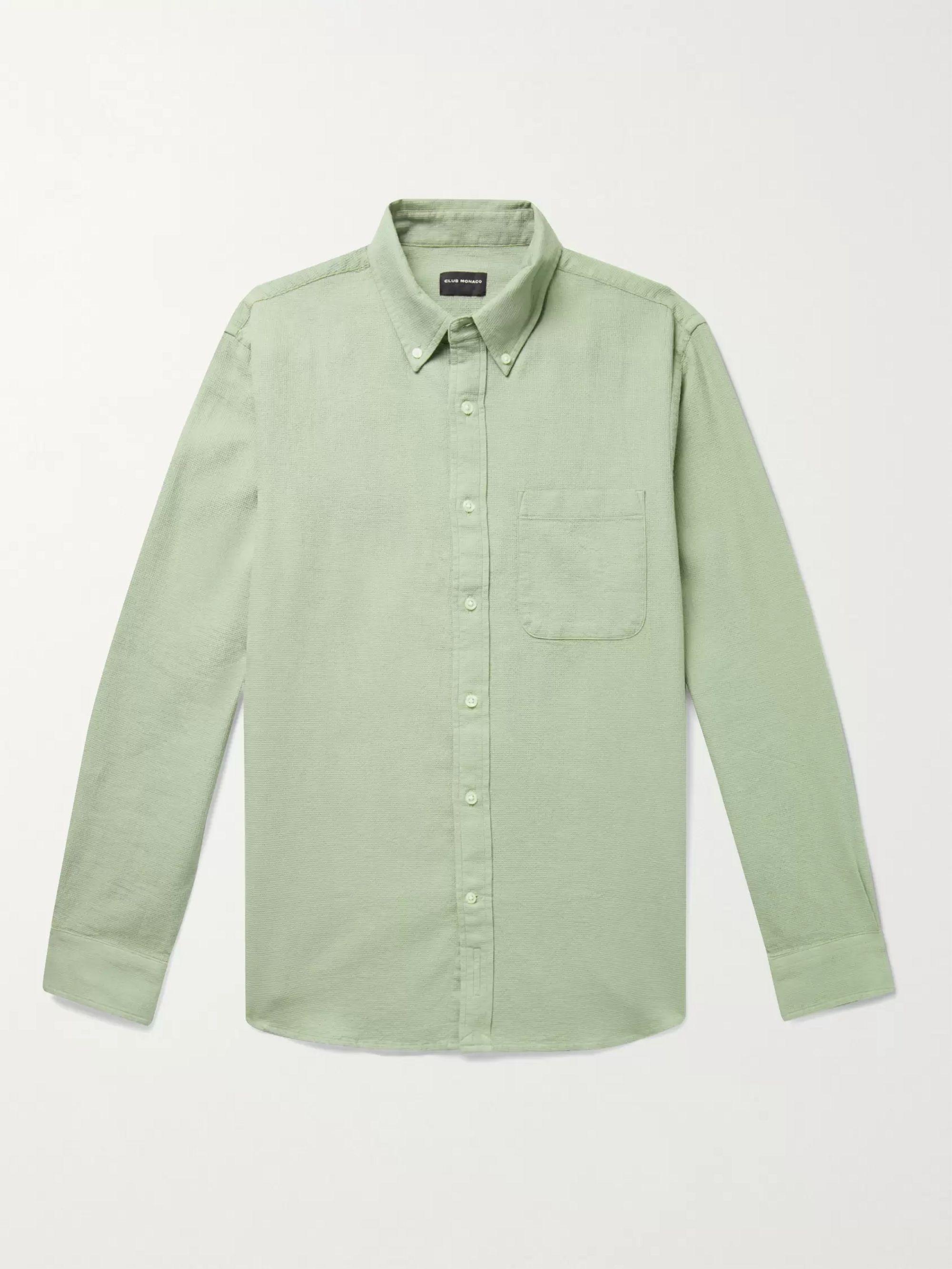 CLUB MONACO Button-Down Collar Waffle-Knit Cotton Shirt