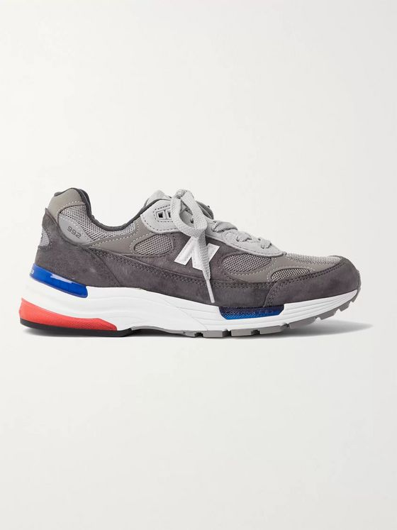 New Balance 992 Leather-Trimmed Suede and Mesh Sneakers