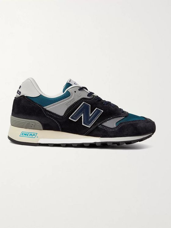 New Balance 577 Suede, Rubber, Mesh and Leather Sneakers