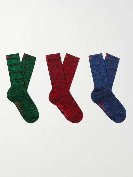 AFFIX Static Three-Pack Mélange Cotton-Blend Socks