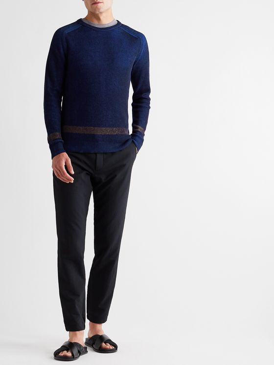 INCOTEX Urban Traveller Slim-Fit Striped Ribbed Cotton-Blend Sweater