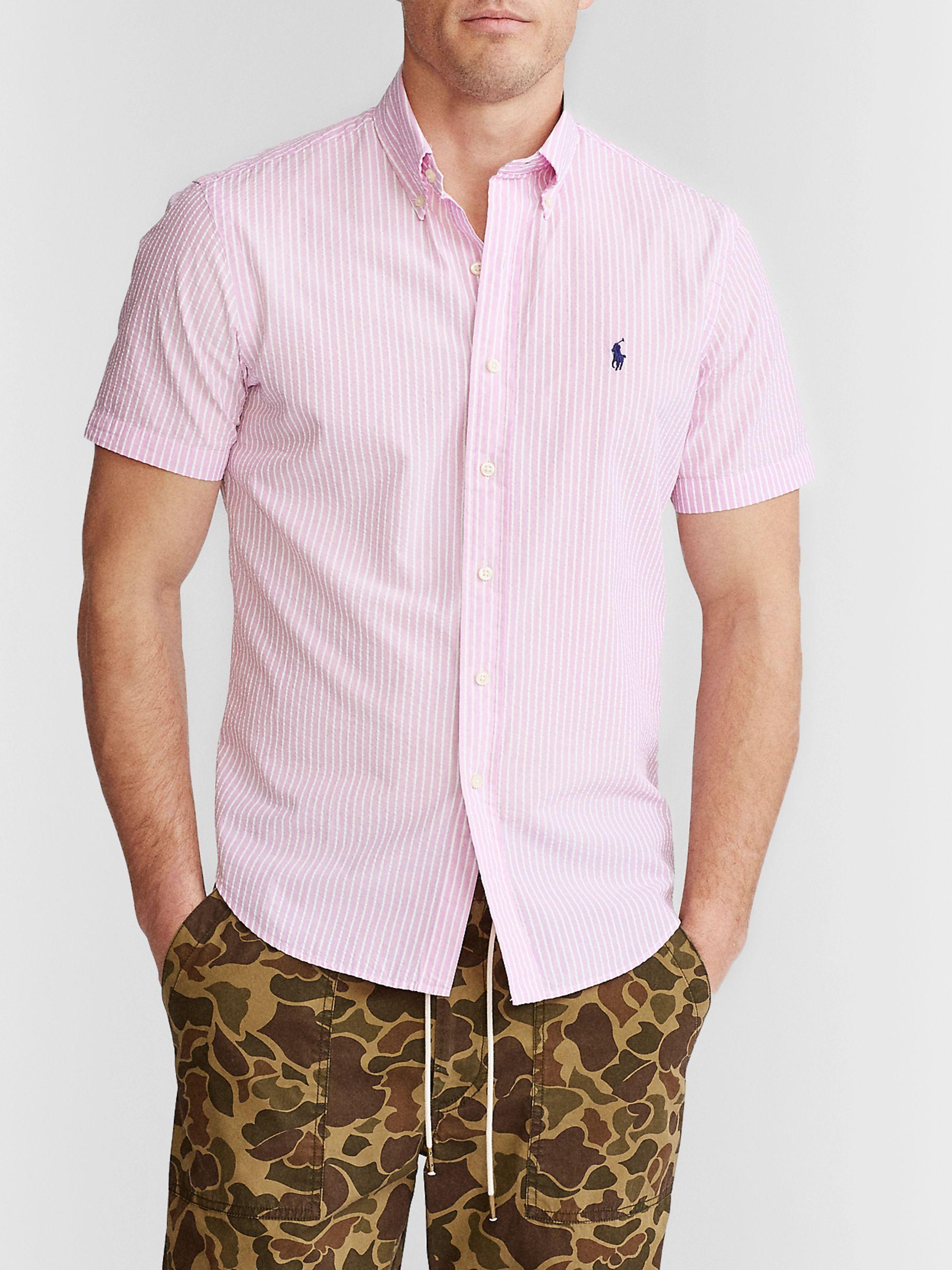 Pink Striped Cotton Seersucker Shirt Polo Ralph Lauren Mr Porter
