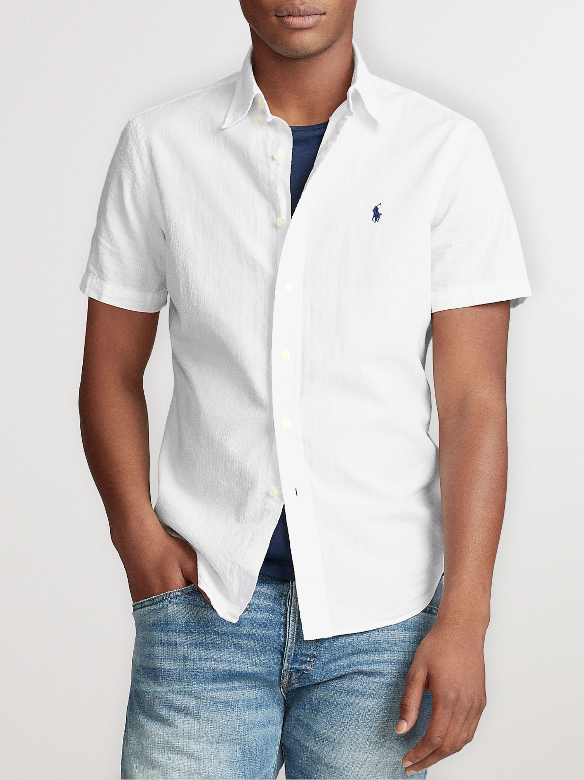 White Slim Fit Cotton Seersucker Shirt Polo Ralph Lauren Mr Porter
