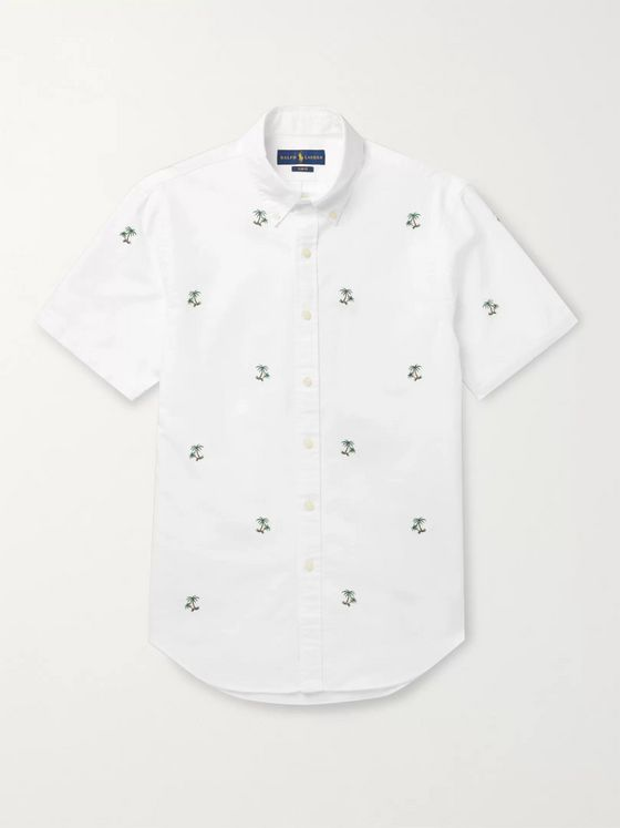 POLO RALPH LAUREN Slim-Fit Button-Down Collar Embroidered Cotton Shirt