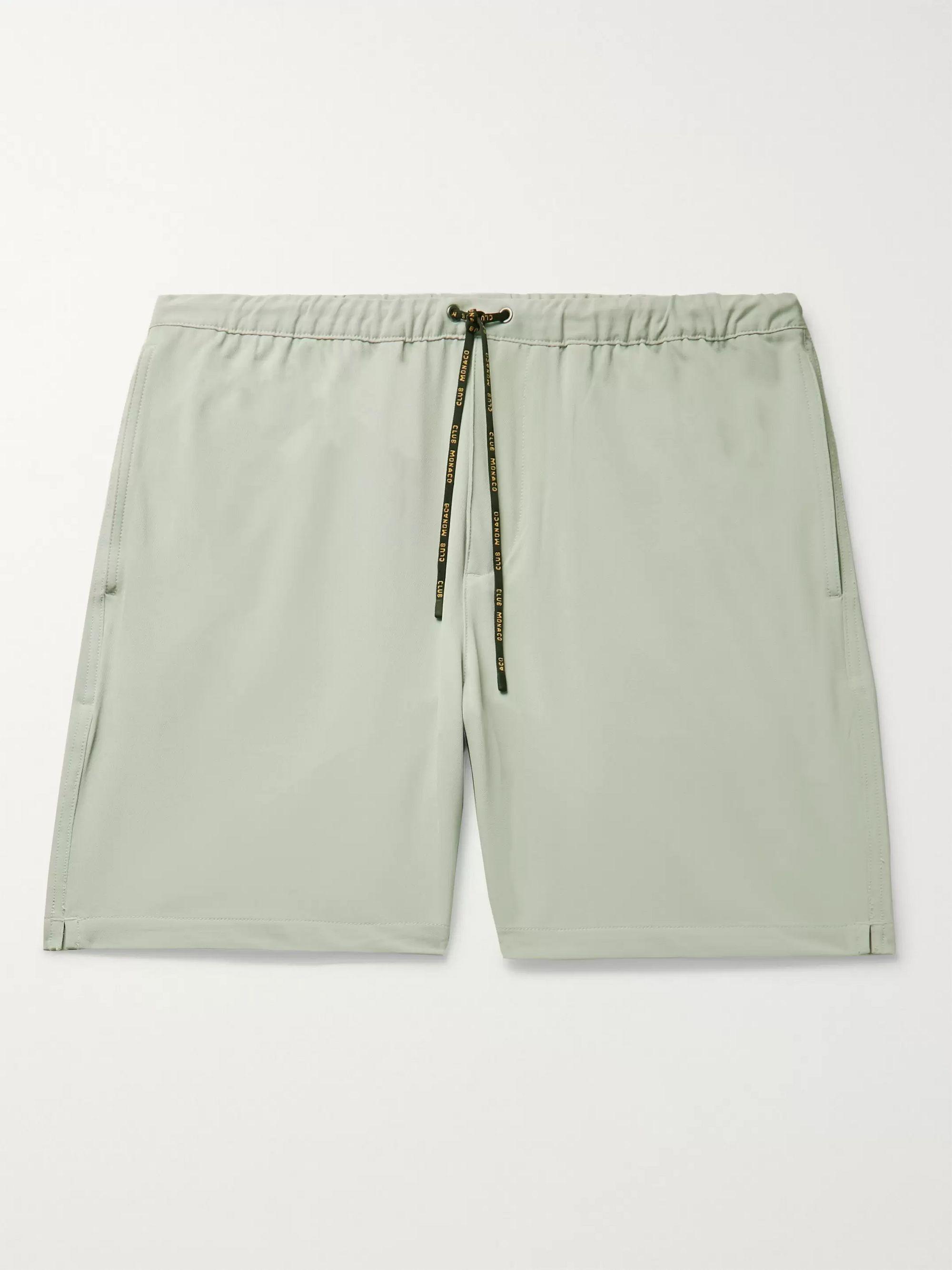 클럽 모나코 Club Monaco Stretch-Jersey Drawstring Shorts,Light gray