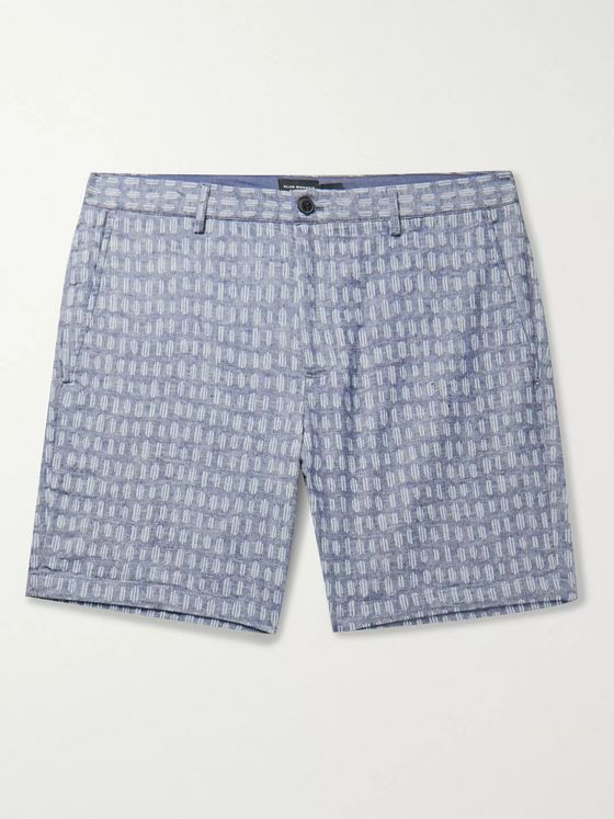 Club Monaco Baxter Slim-Fit Printed Stretch Linen and Cotton-Blend Shorts