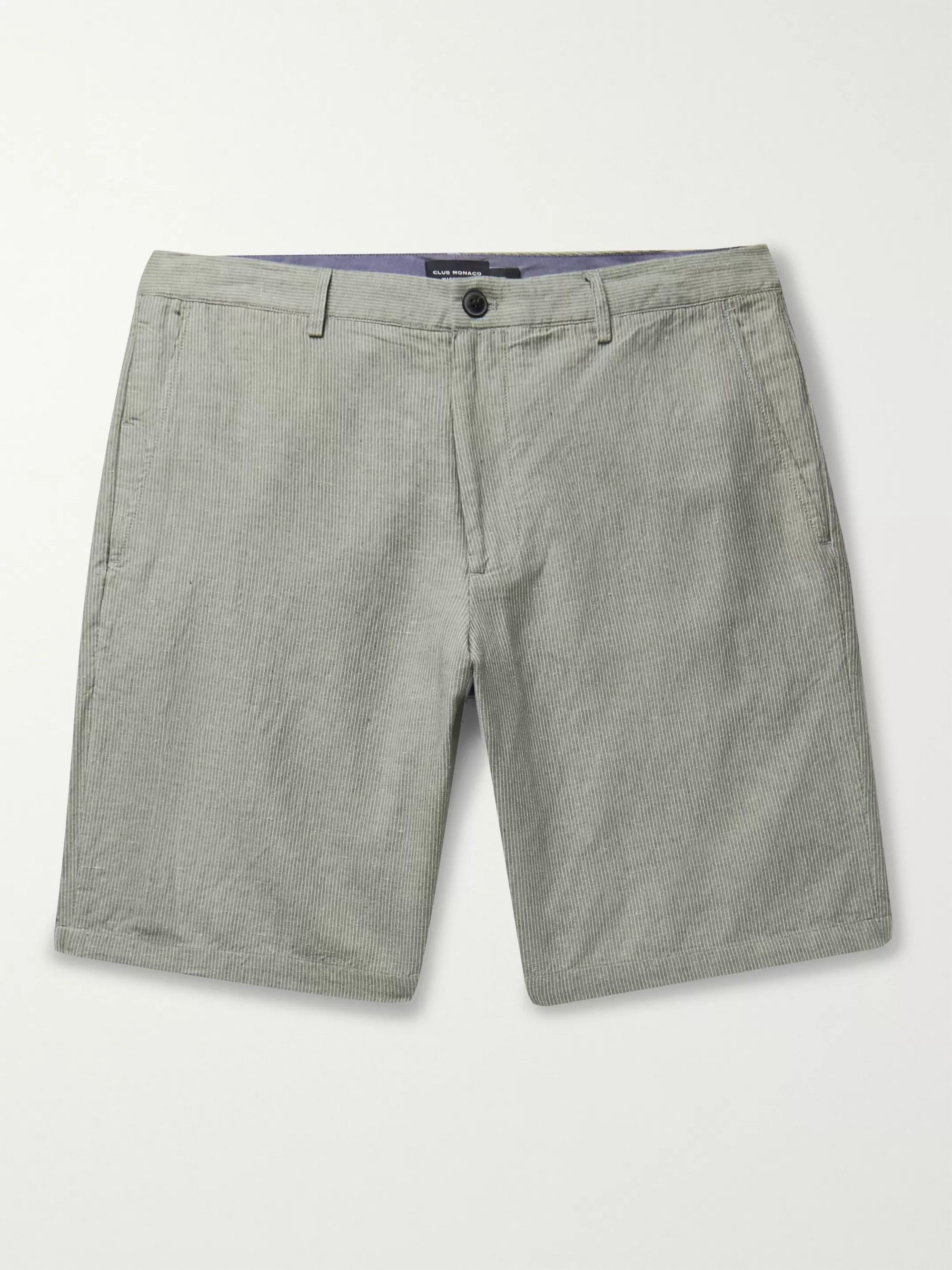 Club Monaco Maddox Pinstriped Linen and Cotton-Blend Shorts