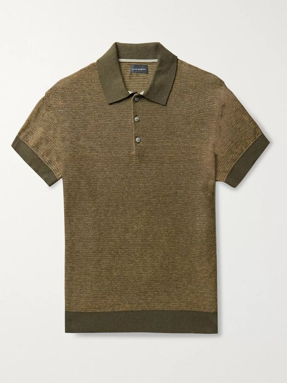 Club Monaco Striped Mélange Cotton and Linen-Blend Polo Shirt