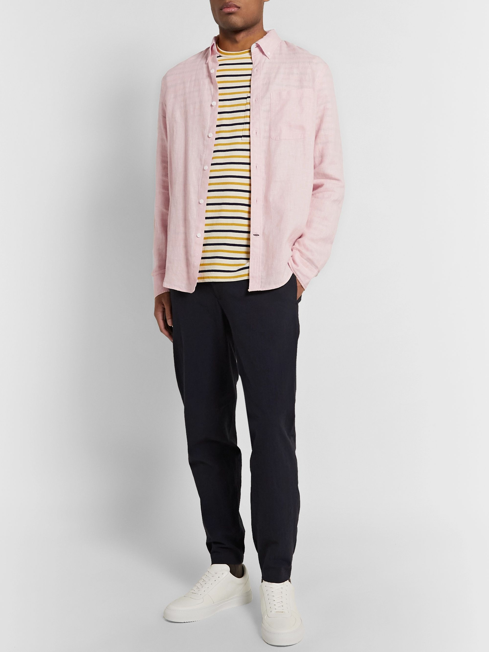 Club Monaco Slim-Fit Button-Down Collar Linen and Cotton-Blend Shirt