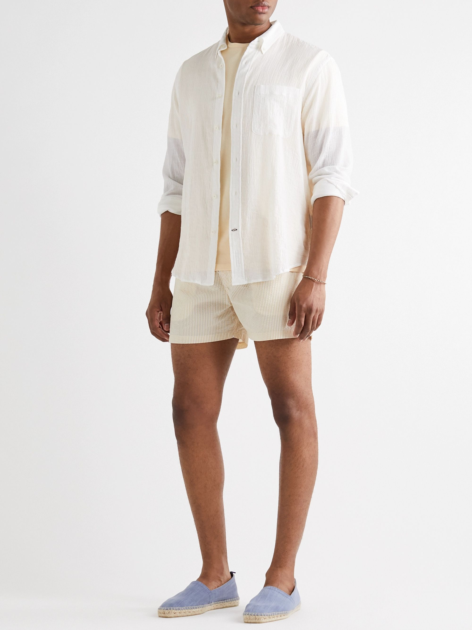 Club Monaco Arlen Slim-Fit Short-Length Striped Seersucker Swim Shorts