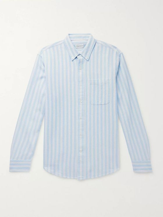 Club Monaco Button-Down Collar Striped Waffle-Knit Cotton Shirt