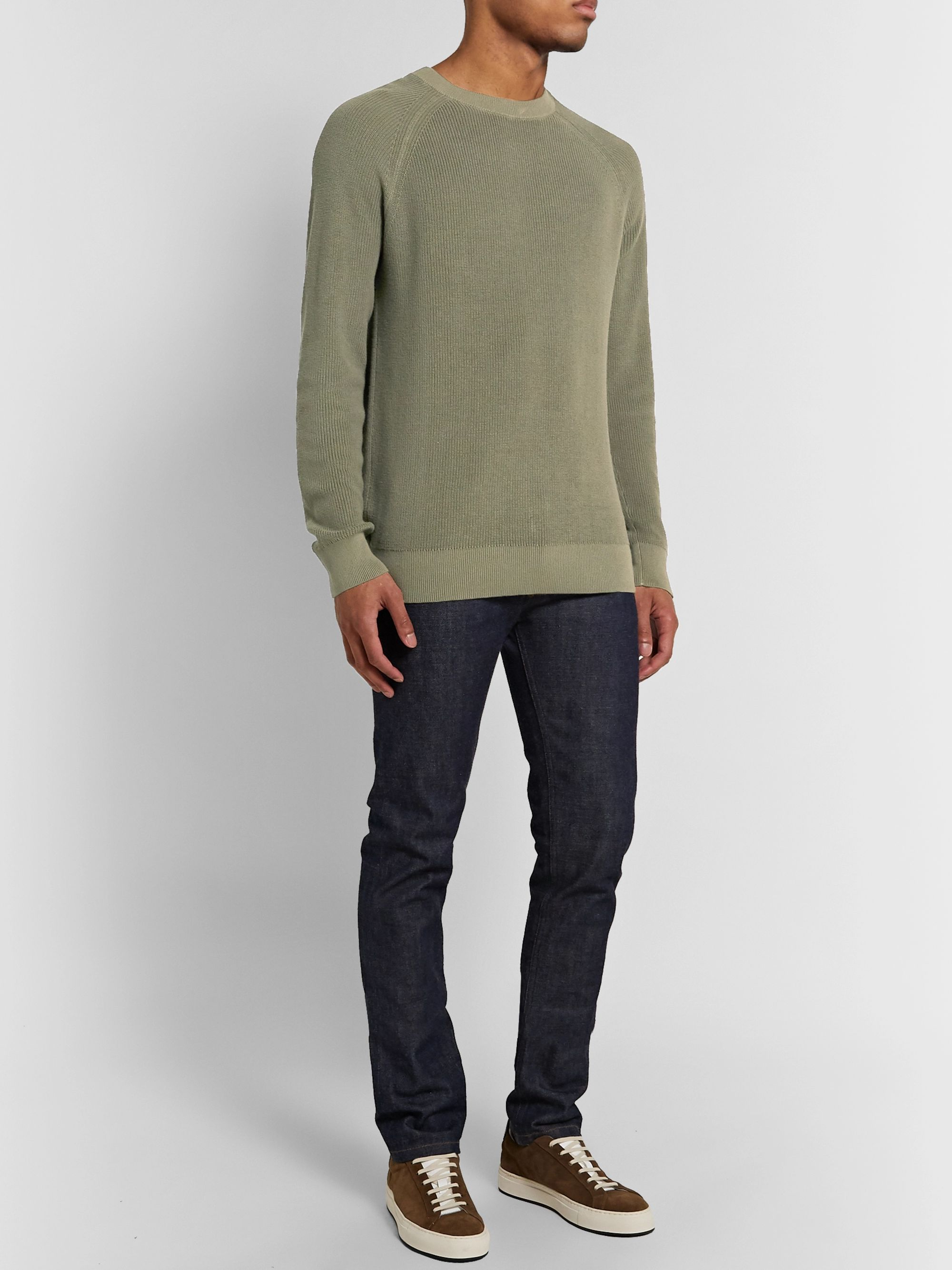 Army Green Garment-dyed Cotton Sweater | Club Monaco