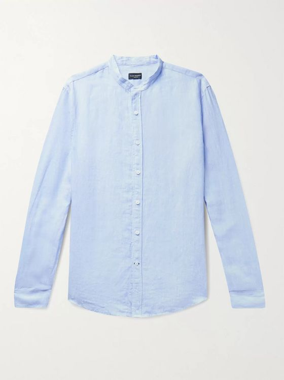Club Monaco Slim-Fit Grandad-Collar Linen Shirt