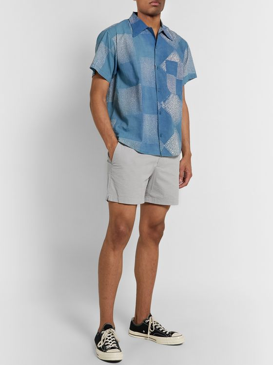 Club Monaco Jax Slim-Fit Stretch-Cotton Seersucker Shorts