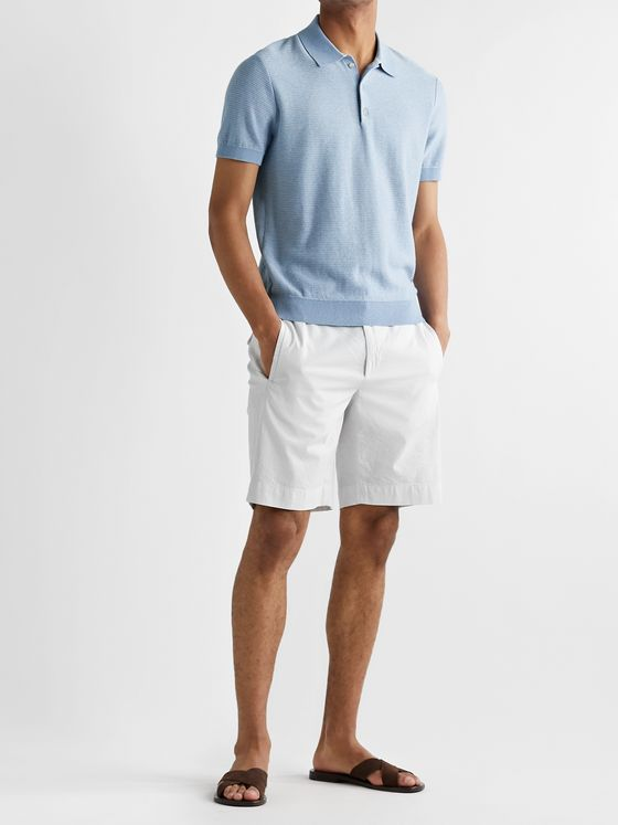 Club Monaco Striped Cotton and Linen-Blend Polo Shirt