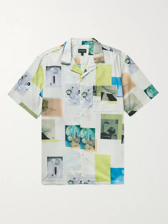 Club Monaco Camp-Collar Printed Cotton Shirt