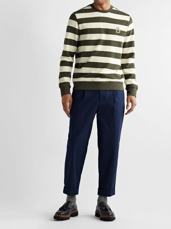 Club Monaco Embroidered Striped Loopback Cotton-Jersey Sweatshirt