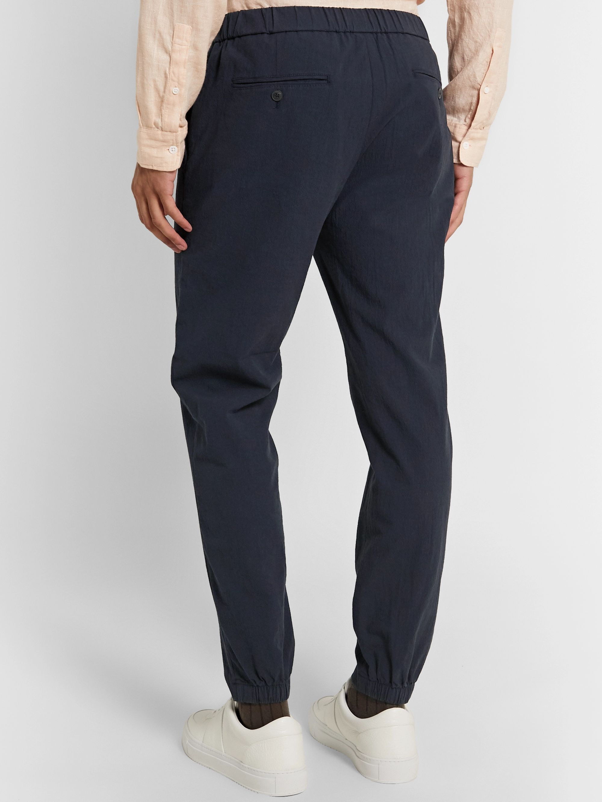 Club Monaco Lex Tapered Textured Cotton-Blend Trousers