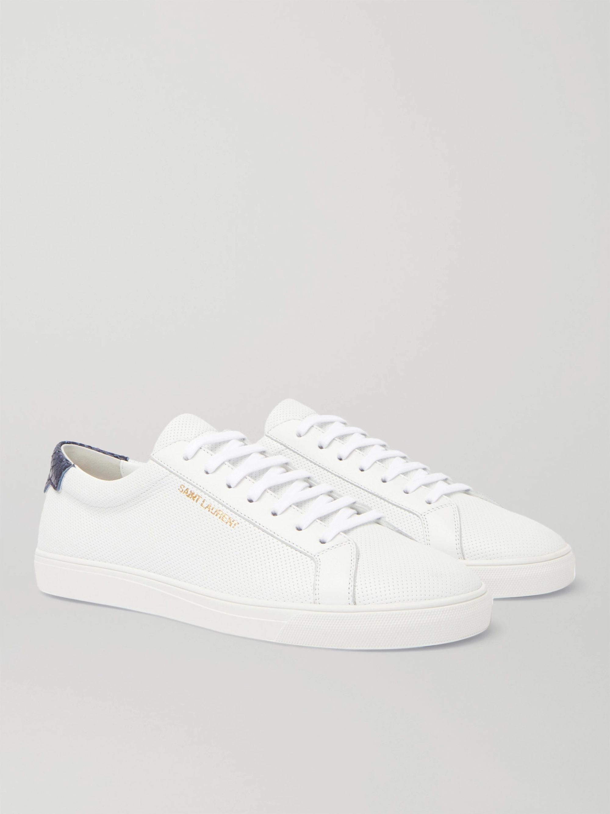 SAINT LAURENT Andy Snake Effect-Trimmed Perforated Leather Sneakers