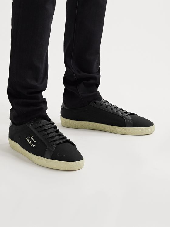 SAINT LAURENT Court Classic SL/06 Leather-Trimmed Logo-Embroidered Distressed Canvas Sneakers