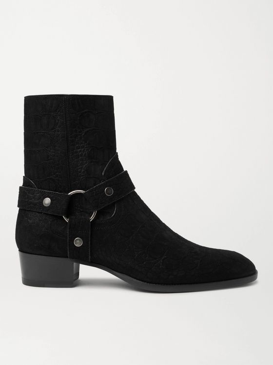 SAINT LAURENT Wyatt 40 Croc-Effect Suede Boots