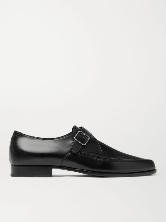 SAINT LAURENT Marceau Leather Monk-Strap Shoes