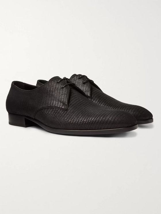 SAINT LAURENT Wyatt Croc-Effect Leather Derby Shoes