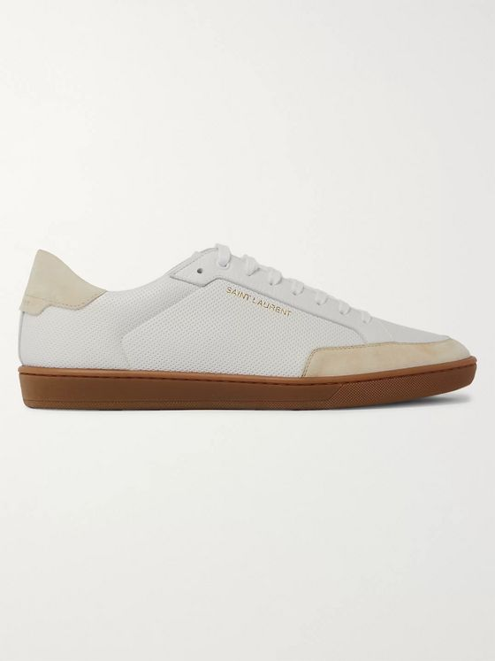 SAINT LAURENT SL/10 Suede-Trimmed Perforated Leather Sneakers