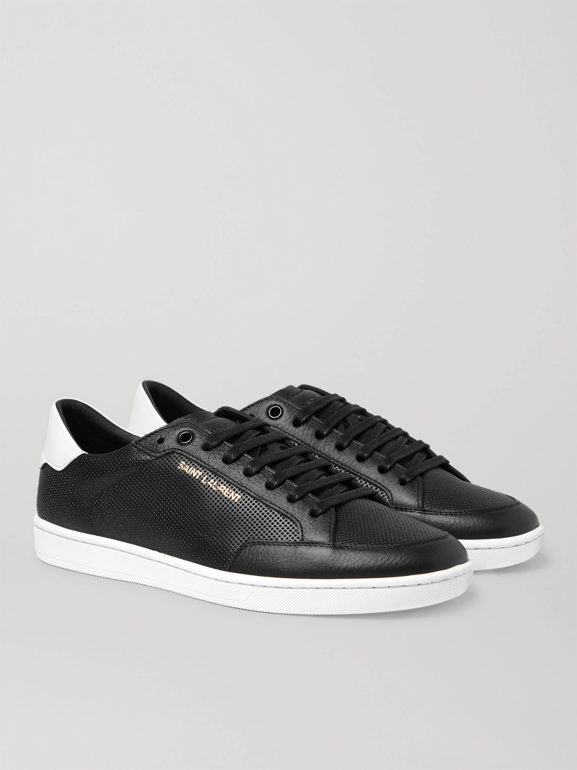 SAINT LAURENT Court Classic SL/10 Perforated Leather Sneakers