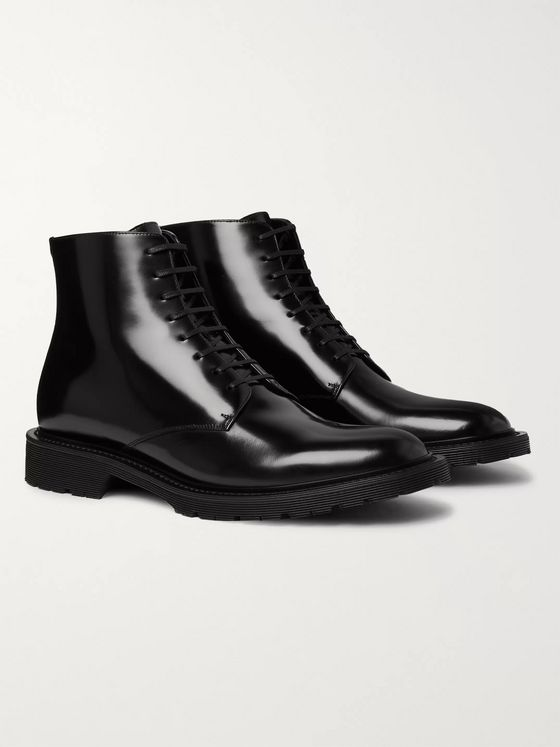 SAINT LAURENT Polished-Leather Boots