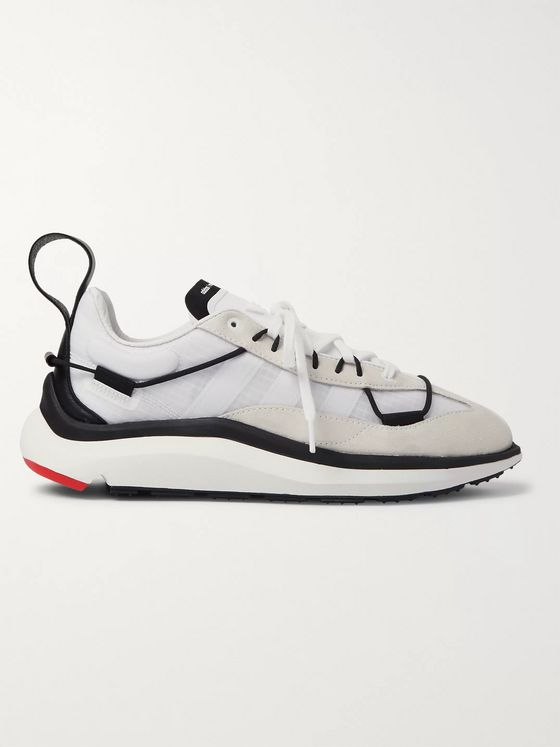 Y-3 Shiku Run Leather and Suede-Trimmed Mesh Sneakers