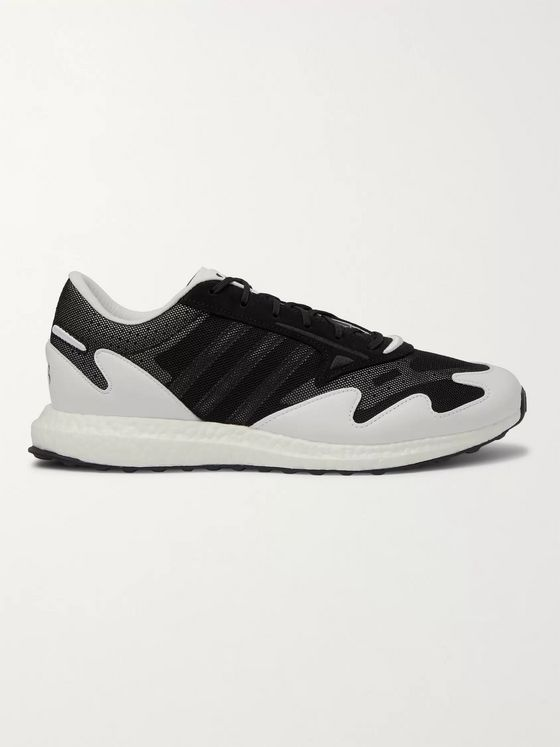 Y-3 Rhisu Run Leather and Suede-Trimmed Mesh Sneakers