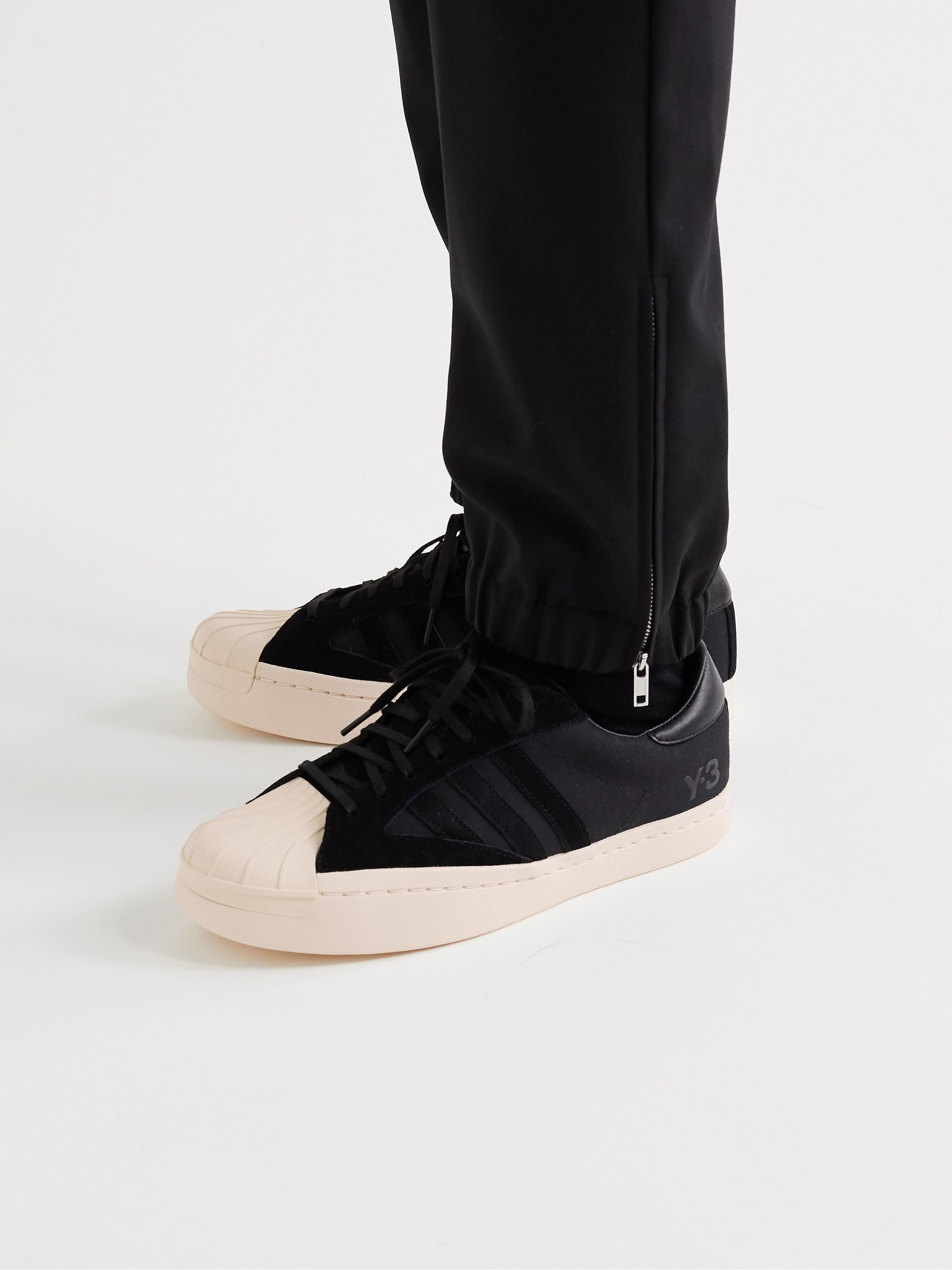 Black Yohji Star Leather And Suede-trimmed Canvas Sneakers | Y-3