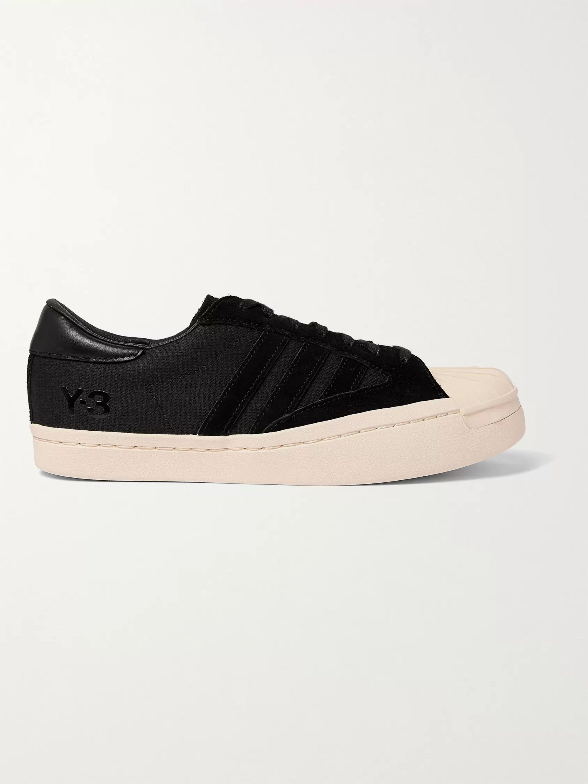Y-3 Yohji Star Leather and Suede-Trimmed Canvas Sneakers